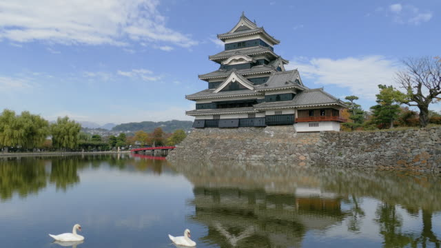 matsumoto castle, matsumoto, japan - moat stock videos and b-roll footage