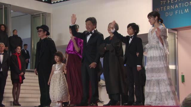 matsuoka mayu, jyo kairi, kirin kiki, hirokazu kore-eda, sakura ando, miyu sasaki, lily franky at 'shoplifters' red carpet arrivals - the 71st annual... - kirin kiki stock videos & royalty-free footage