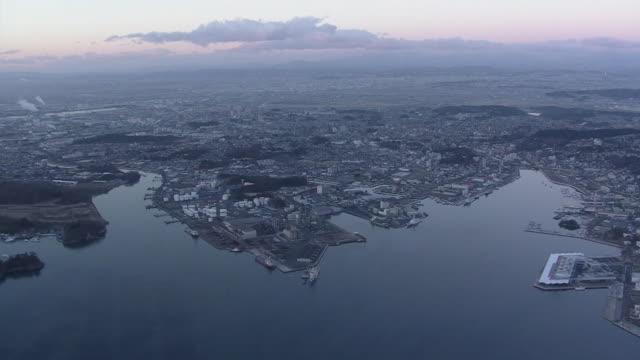 aerial, matsushima bay around port of shiogama, miyagi, japan - water's edge stock videos & royalty-free footage