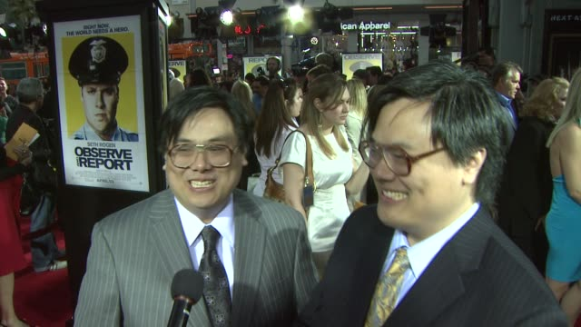 matt and john yuen on any altercations with mall cops what it was like working with seth rogen and how he was able to shoot a machine gun in the... - seth rogen stock videos and b-roll footage