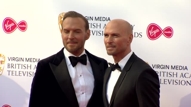 matt and luke goss, bros, pose for photos on red carpet at bafta tv awards 2019 at royal festival hall, london - brother stock videos & royalty-free footage