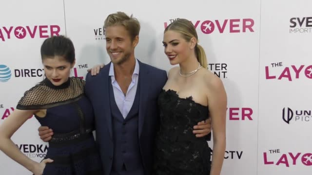 Matt Barr Kate Upton Alexandra Daddario at the 'The Layover' Premiere at ArcLight Cinemas on August 23 2017 in Hollywood California