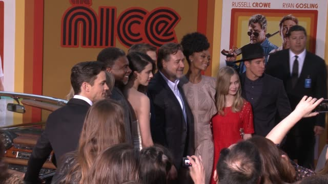 Matt Bomer Keith David Ryan Gosling Sarah Margaret Qualley Kim Basinger Yaya DaCosta Angourie Rice Beau Knapp and Russell Crowe at 'The Nice Guys'...