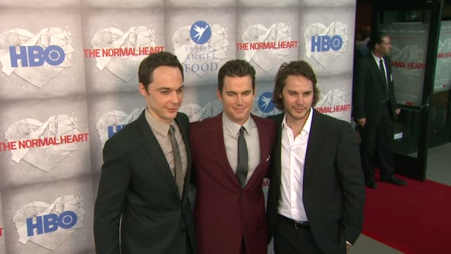 matt bomer taylor kitsch jim parsons at hbo film's the normal heart los angeles premiere at writers guild theater on may 19 2014 in beverly hills... - jim parsons stock videos and b-roll footage