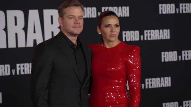 matt damon and luciana barroso at the ford v ferrari premiere at tcl chinese theatre on november 04 2019 in hollywood california - matt damon stock videos and b-roll footage
