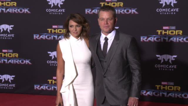 matt damon and luciana barroso at the thor ragnarok premiere at the el capitan theatre on october 10 2017 in hollywood california - matt damon stock videos and b-roll footage