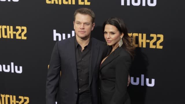 matt damon and luciana barroso at the us premiere of hulu's 'catch22 at tcl chinese theatre on may 07 2019 in hollywood california - matt damon stock videos and b-roll footage