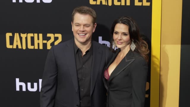 Matt Damon and Luciana Barroso at the US Premiere of Hulu's 'Catch22