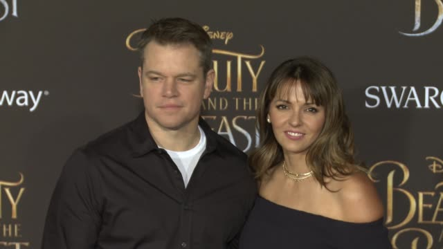 matt damon and luciana bozan at the premiere of disney's beauty and the beast at the el capitan theatre on march 02 2017 in hollywood california - matt damon stock videos and b-roll footage