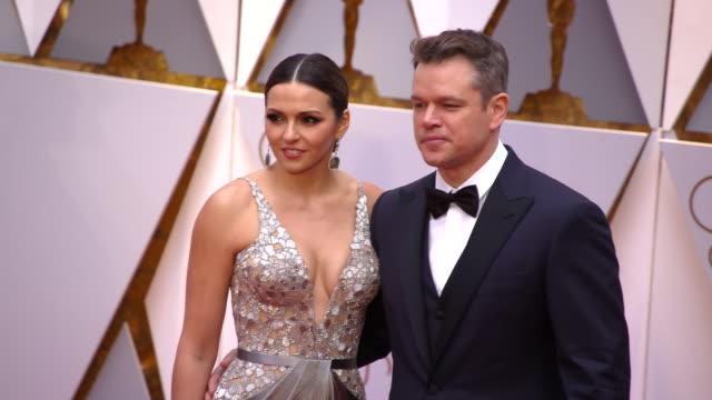 matt damon and luciana bozán at 89th annual academy awards arrivals at hollywood highland center on february 26 2017 in hollywood california 4k - matt damon stock videos and b-roll footage