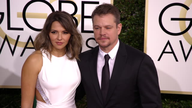 matt damon and luciana damon at 74th annual golden globe awards arrivals at 74th annual golden globe awards arrivals at the beverly hilton hotel on... - matt damon stock videos and b-roll footage