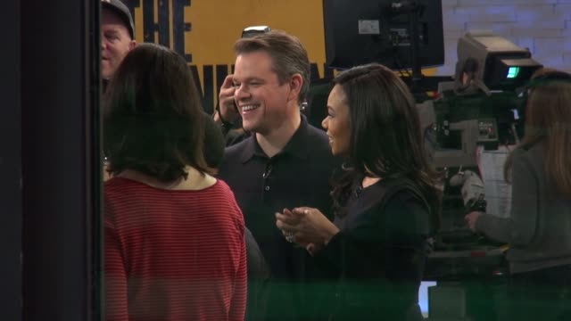 matt damon and regina hall on the good morning america show set in celebrity sightings in new york - matt damon stock videos and b-roll footage