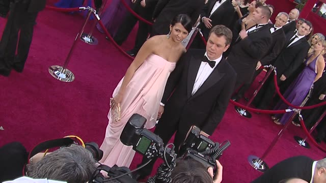 matt damon and wife luciana damon at the 82nd annual academy awards - arrivals part 2 at los angeles ca. - マット・デイモン点の映像素材/bロール