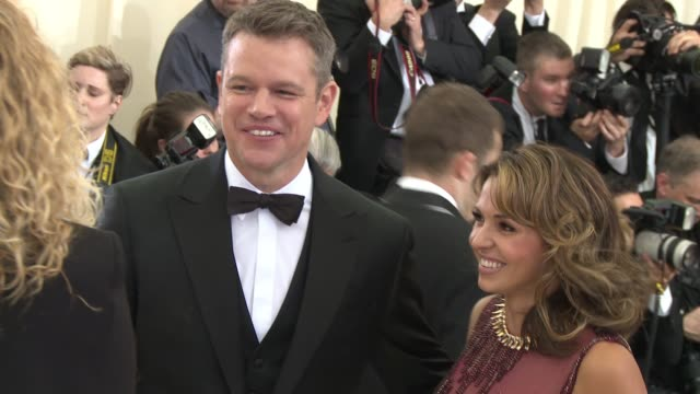 matt damon at rei kawakubo/comme des garcons art of the inbetween costume institute gala arrivals at the metropolitan museum of art on may 1 2017 in... - matt damon stock videos and b-roll footage