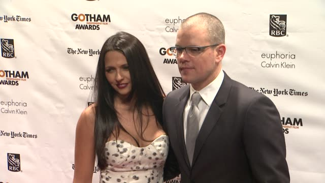matt damon at the 22nd annual gotham independent film awards at cipriani wall street on november 26, 2012 in new york, new york - independent feature project stock videos & royalty-free footage