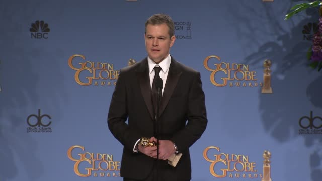 speech matt damon at the 73rd annual golden globe awards press room at the beverly hilton hotel on january 10 2016 in beverly hills california - matt damon stock videos and b-roll footage