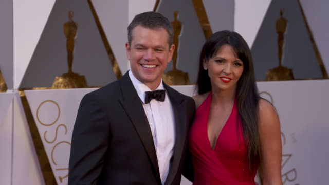 matt damon at the 88th annual academy awards arrivals at hollywood highland center on february 28 2016 in hollywood california 4k - matt damon stock videos and b-roll footage