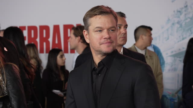 matt damon at the ford v ferrari premiere at tcl chinese theatre on november 04 2019 in hollywood california - matt damon stock videos and b-roll footage