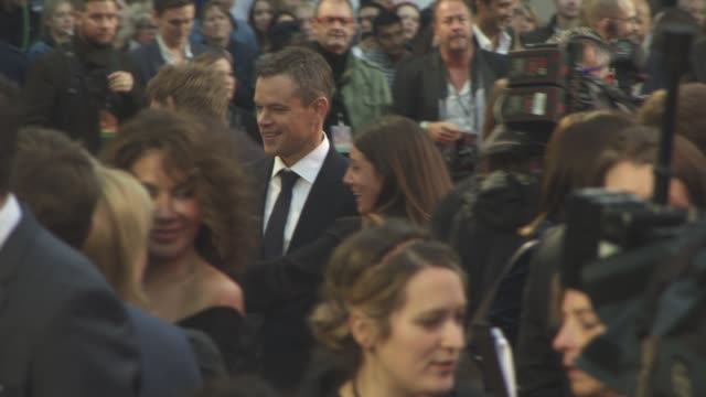 matt damon at 'the martian' european film premiere at odeon leicester square on september 24 2015 in london england - matt damon stock videos and b-roll footage