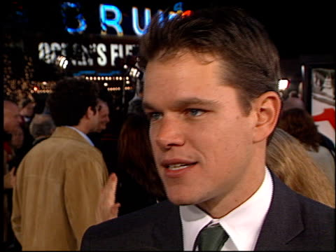 matt damon at the 'oceans 11' premiere at the mann village theatre in westwood california on november 5 2001 - matt damon stock videos and b-roll footage
