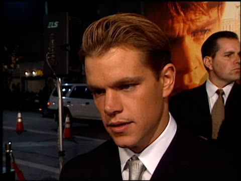 matt damon at the premiere of 'the talented mr ripley' at the mann village theatre in westwood california on december 12 1999 - matt damon stock videos and b-roll footage