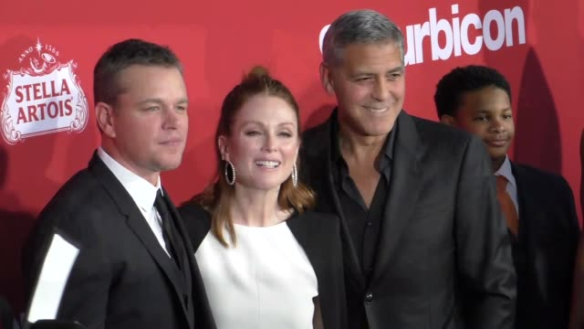 matt damon george clooney julianne moore at the premiere of paramount pictures' 'suburbicon' on october 22 2017 in los angeles california - matt damon stock videos and b-roll footage