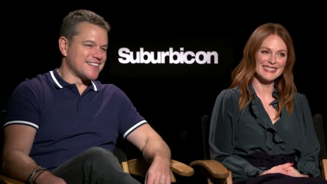 interview matt damon julianne moore on the theme of the film working with director george clooney their characters being the remote control at the... - matt damon stock videos and b-roll footage