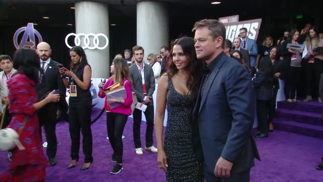 "matt damon luciana barroso at audi at the world premiere of ""avengers endgame"" in los angeles ca - matt damon stock videos and b-roll footage"