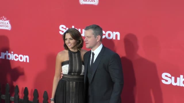 matt damon luciana barroso at the premiere of paramount pictures' 'suburbicon' on october 22 2017 in los angeles california - matt damon stock videos and b-roll footage