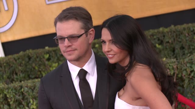 matt damon luciana damon at 20th annual screen actors guild awards arrivals at the shrine auditorium on in los angeles california - luciana barroso video stock e b–roll