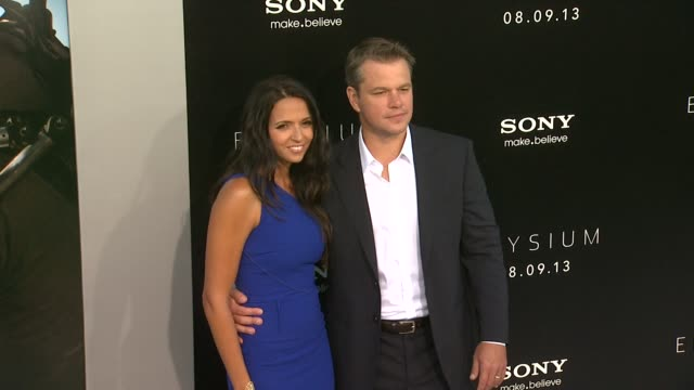 matt damon luciana damon at elysium los angeles premiere on 8/7/2013 in westwood ca - matt damon stock videos and b-roll footage