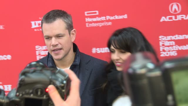 matt damon luciana damon at manchester by the sea screening 2016 sundance film festival at eccles center theatre on january 23 2016 in park city utah - luciana barroso video stock e b–roll