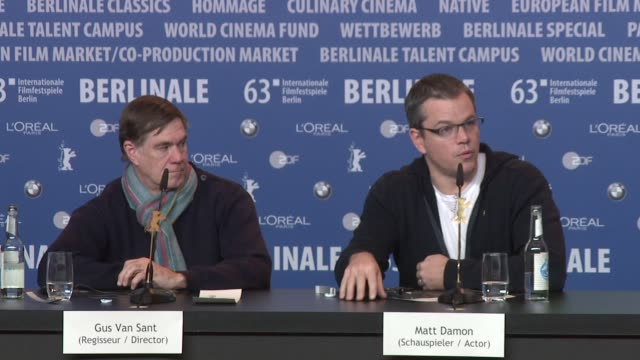 interview matt damon on always being asked about ben afleck at 'promise land' press conference on february 8 2013 in berlin germany - matt damon stock videos and b-roll footage