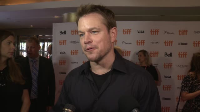 interview matt damon on having to drop out of this film what makes this such a special story and why it feels so nice to have the film be so well... - matt damon stock videos and b-roll footage