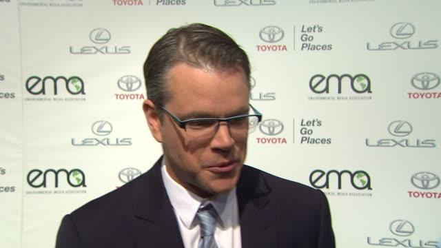 INTERVIEW Matt Damon on the EMA Awards 2013 Environmental Media Awards Presented by Toyota Lexus at Warner Bros Studios in Burbank CA on 10/19/13 in...