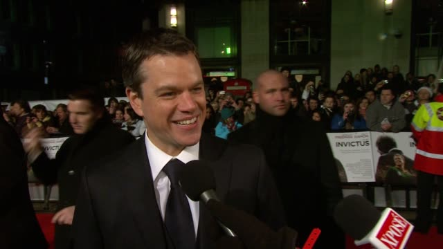 matt damon on wanting to capture francois pienaar's integrity on meeting mandela with his kids at the invictus uk premiere at london england - matt damon stock videos and b-roll footage