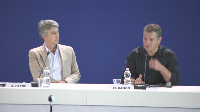 matt damon, on working with alexander payne, the script, his character, the films message at 'downsizing' press conference - 74th venice... - 第74回ベネチア国際映画祭点の映像素材/bロール