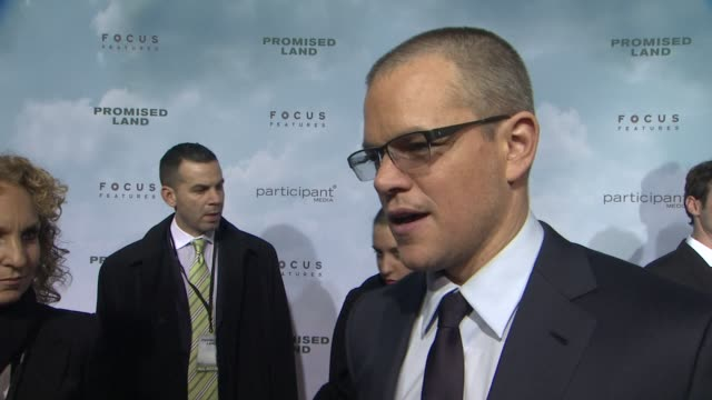 matt damon on working with john creating the film with focus features and the goal of the film at promised land new york premiere presented by focus... - amc loews stock videos and b-roll footage