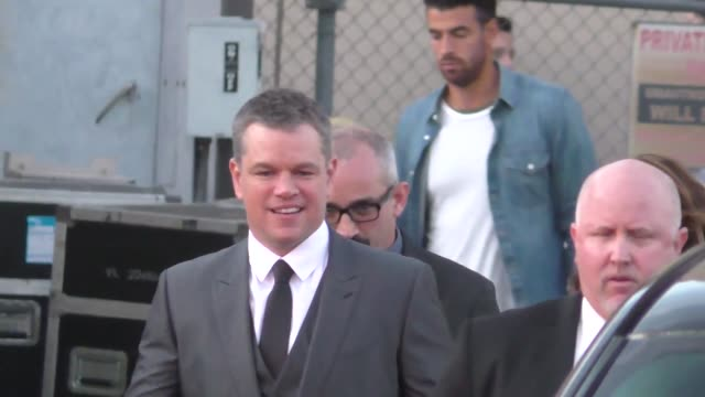 matt damon outside jimmy kimmel live in hollywood on october 10 2017 at celebrity sightings in los angeles - matt damon stock videos and b-roll footage
