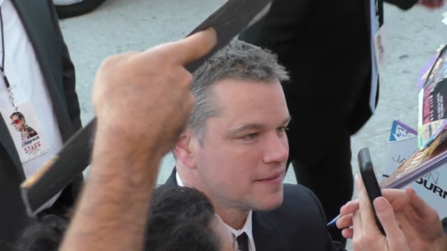 matt damon outside the suburbicon premiere at village theatre in westwood in celebrity sightings in los angeles - matt damon stock videos and b-roll footage