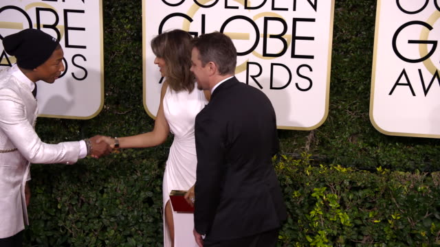 matt damon pharrell williams and luciana damon at 74th annual golden globe awards arrivals at 74th annual golden globe awards arrivals at the beverly... - matt damon stock videos and b-roll footage