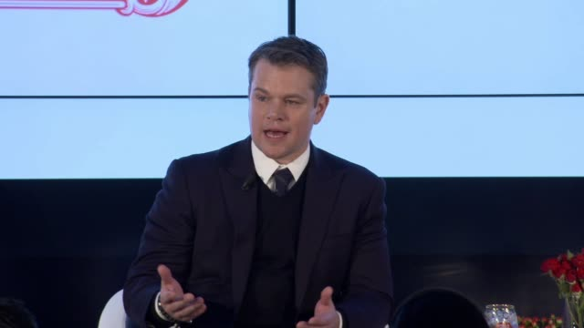 speech – matt damon says messaging can be difficult on the transformational impact on people who gain access to water describes how by buying stella... - matt damon stock videos and b-roll footage