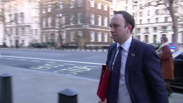 matt hancock mp, health minister, and other ministers arrive for cobra meeting to discuss british response to coronavirus outbreak - meeting stock videos & royalty-free footage