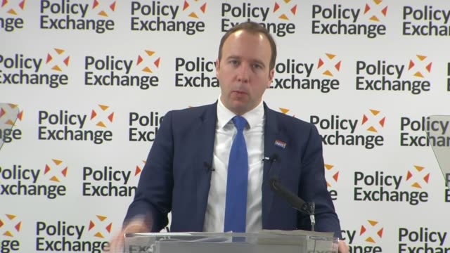 london westminster policy exchange int matt hancock mp speech sot / urgent review of annual allowance taper fair rewards - incentive stock videos & royalty-free footage