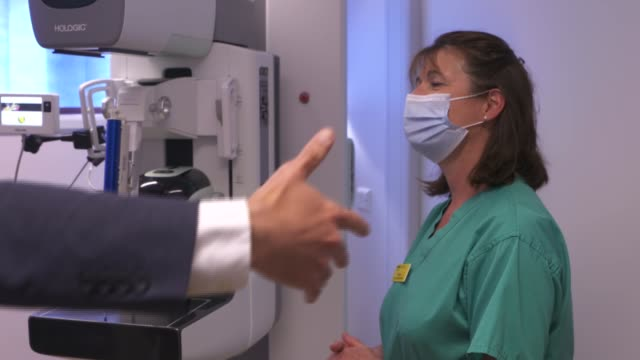 matt hancock visits cambridge breast unit and interview england cambridge addenbrooke's hospital cambridge breast unit matt hancock mp along into... - medical x ray stock videos & royalty-free footage