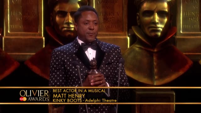 Matt Henry Kinky Boots Best Actor In A Musical at The Olivier Awards with MasterCard at The Royal Opera House on April 04 2016 in London England