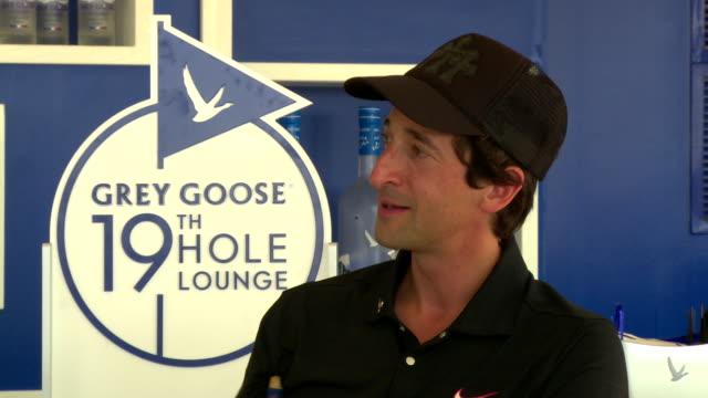 matt kuchar and adrien brody talk about hanging together and the possibility of matt being ranked in the world if he wins the next tournament at grey... - adrien brody stock videos & royalty-free footage