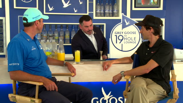 interview matt kuchar and adrien brody talk about the new le melon grey goose as their drinks are prepared at grey goose vodka presents tpc uncorked... - grey goose vodka stock videos & royalty-free footage