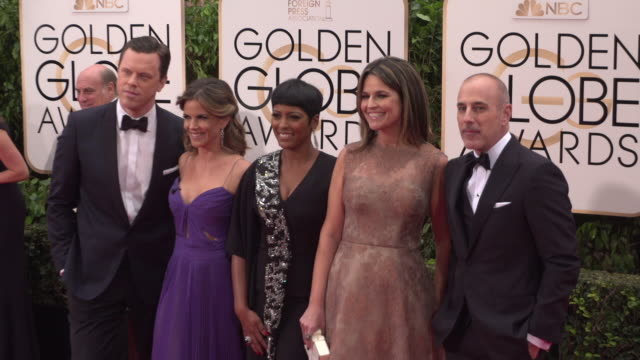matt lauer, savannah guthrie, natalie morales, willie geist, and tamron hall at the 73rd annual golden globe awards - arrivals at the beverly hilton... - tamron hall stock videos & royalty-free footage