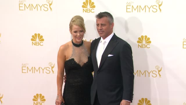 matt leblanc and andrea anders 66th primetime emmy awards arrivals at nokia theatre la live on august 25 2014 in los angeles california - matt leblanc stock videos and b-roll footage